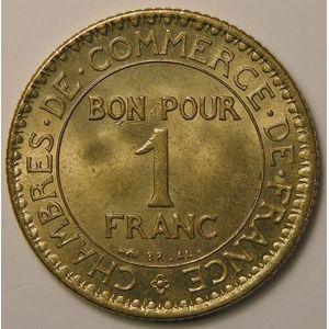 Photo numismatique Monnaies Françaises 1 Franc Gadoury 468. Chambre de commerce