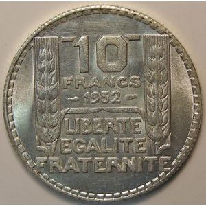 Photo numismatique Monnaies Françaises 10 Francs Gadoury 801. Turin en argent
