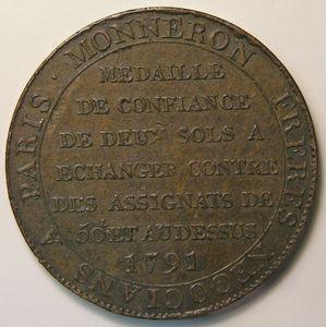 Photo numismatique Monnaies La Révolution Monneron de 2 Sols