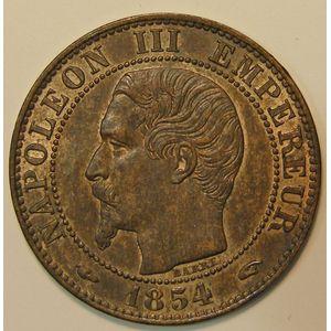 Photo numismatique Monnaies Françaises 5 Centimes Gadoury 152. Napoléon III tête nue