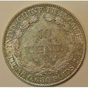 Photo numismatique Monnaies Etrangères Indochine 10 Cent