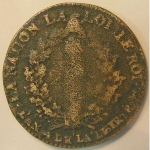Photo numismatique Monnaies La Révolution 2 Sols Contitution (François)