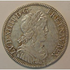 Photo numismatique Monnaies Royales Françaises LOUIS XIV (1643-1715) 1/4 Ecu à la mèche longue