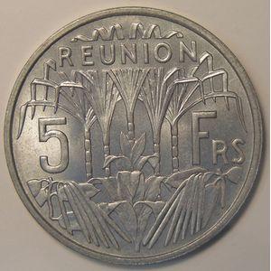 Photo numismatique Monnaies Etrangères Réunion 5 Francs