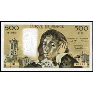 Photo numismatique Billets Billets France 500 Francs Pascal