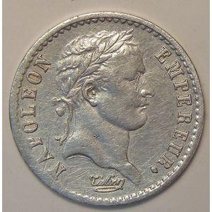 Photo numismatique Monnaies Françaises 1/2 Franc Gadoury 399. Napoléon Ier au revers EMPIRE