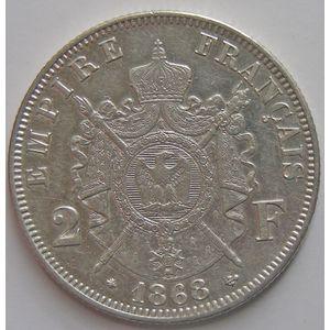 Photo numismatique Monnaies Françaises 2 Francs Gadoury 527. Napoléon III tête laurée