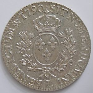 Photo numismatique Monnaies Royales Françaises LOUIS XVI (1774-1792) Ecu aux branches d'olivier