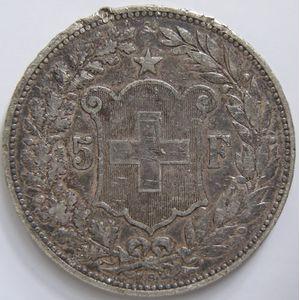 Photo numismatique Monnaies Etrangères Suisse 5 Francs