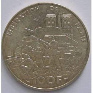 Photo numismatique Monnaies Françaises 100 Francs Gadoury 935. Libération de Paris