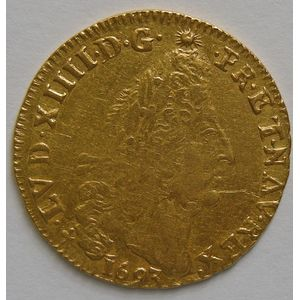 Photo numismatique Monnaies Royales Françaises LOUIS XIV (1643-1715) Louis d'or aux 4 L
