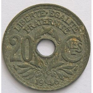 Photo numismatique Monnaies Françaises 20 Centimes Gadoury 324. Lindauer