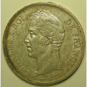 Photo numismatique Monnaies Françaises 5 Francs Gadoury 644a. Charles X. Tranche en Relief