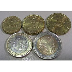 Photo numismatique Monnaies Euros Monaco Série 2003, 5 Pièces