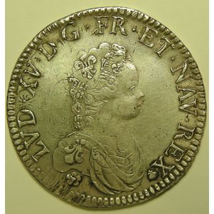 Photo numismatique Monnaies Royales Françaises LOUIS XV (1715-1774) Ecu Vertugadin