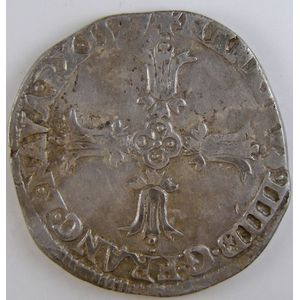 Photo numismatique Monnaies Royales Françaises HENRI IV (1589-1610) 1/4 Ecu à la croix fleurdelisée