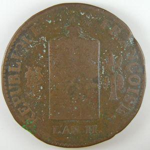 Photo numismatique Monnaies La Révolution 2 Sols aux balances (Convention)
