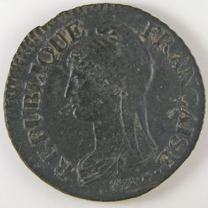 Photo numismatique Monnaies Françaises 5 Centimes Gadoury 126. Dupré