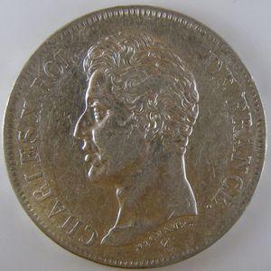 Photo numismatique Monnaies Françaises 5 Francs Gadoury 643. Charles X 1er type
