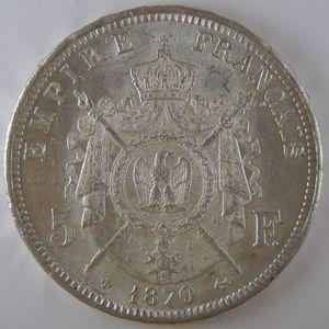 Photo numismatique Monnaies Françaises 5 Francs Gadoury 739. Napoléon III tête laurée