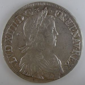Photo numismatique Monnaies Royales Françaises LOUIS XIV (1643-1715) Ecu à la mèche longue