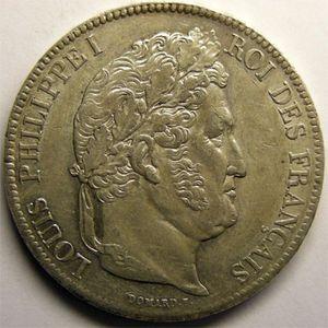 Photo numismatique Monnaies Françaises 5 Francs Gadoury 678. Louis-Philippe I tête laurée