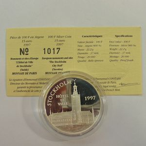 Photo numismatique Monnaies Françaises Monnaies commémoratives Gadoury C203. Stockholm Hotel de Ville