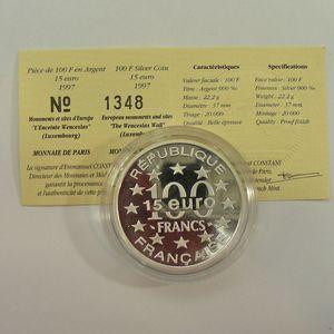 Photo numismatique Monnaies Françaises Monnaies commémoratives Gadoury C201. Luxembourg Enceinte Wenceslas
