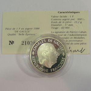 Photo numismatique Monnaies Françaises 1 Franc Gadoury 476. Charles De Gaulle