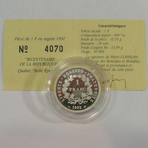 Photo numismatique Monnaies Françaises 1 Franc Gadoury 479. République