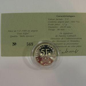 Photo numismatique Monnaies Françaises 5 Francs Gadoury 772. Centenaire de la Tour Eiffel