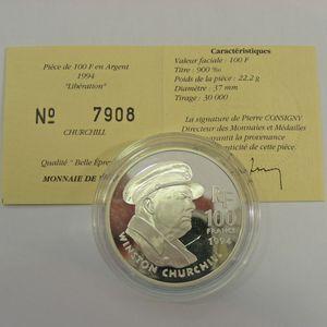 Photo numismatique Monnaies Françaises Monnaies commémoratives Gadoury C81. Churchill