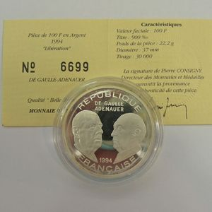 Photo numismatique Monnaies Françaises Monnaies commémoratives Gadoury C89. Général de Gaulle/ Adenauer