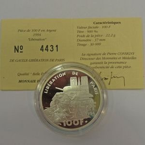 Photo numismatique Monnaies Françaises Monnaies commémoratives Gadoury C87. Libération de Paris