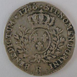 Photo numismatique Monnaies Royales Françaises LOUIS XVI (1774-1792) 1/5 ème d'écu