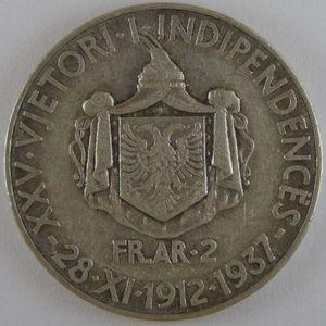 Photo numismatique Monnaies Etrangères Albanie 2 Franga