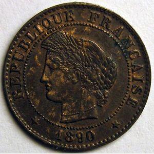 Photo numismatique Monnaies Françaises 1 Centime Gadoury 88. Cérès