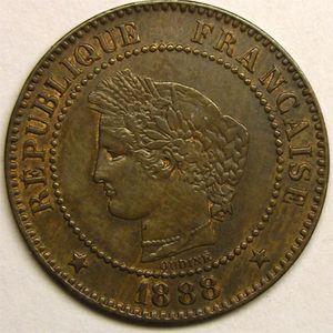Photo numismatique Monnaies Françaises 2 Centimes Gadoury 105. Cérès