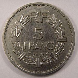 Photo numismatique Monnaies Françaises 5 Francs Gadoury 760. Lavrillier en Nickel