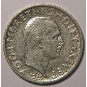 Albania, 1 Frang 1935, TTB+/SUP, KM 16