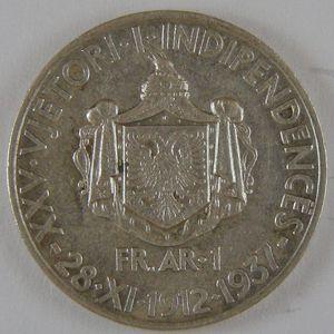 Albania , 1 Frang 1937, TTB+/SUP, KM 18