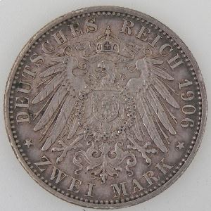 Allemagne, Baden, 2 Mark 1906, TTB, KM#279