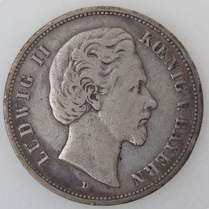 Allemagne, Bayern, 5 Mark 1875 D, TB+, KM#896