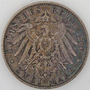 Allemagne, Preussen, 2 Mark 1900 A, TB+, KM#522