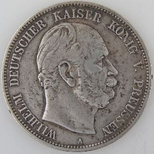 Allemagne , Preussen, 5 Mark 1876 A, TB+, KM#503
