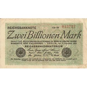 Allemagne, 2 Billionen Mark 5/11/23, TB+, Pick: 135a