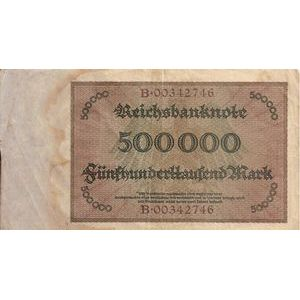 Allemagne, 500.000 Mark 1/5/23, TB, Pick: 88a