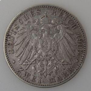 Allemagne , Baden, 2 Mark 1903 G, TB+, KM#272.