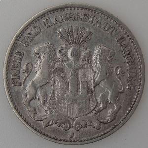 Allemagne, Hamburg, 2 Mark 1906 J, TB+, KM#612.