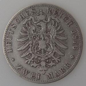 Allemagne, Preussen, 2 Mark 1876 A, TB/TB+, KM#506.